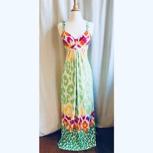 Alyn Paige Ikat Multi-Color Maxi Dress Size Small